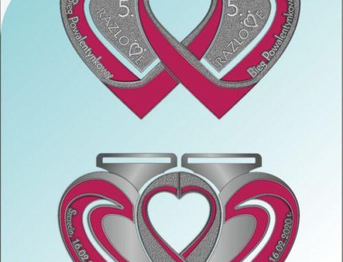 Projekt medalu 5 edycji RAZlove – Biegu Powalentynkowego